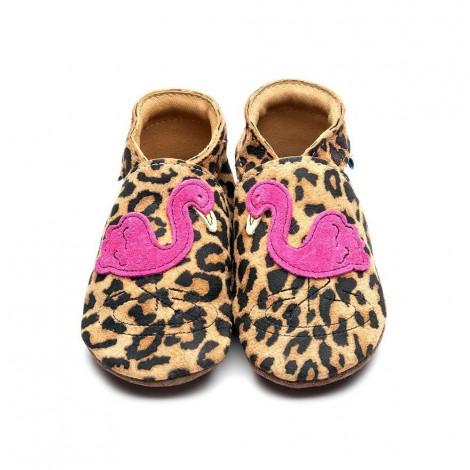 Chaussons en cuir Flamingo Motif léopard